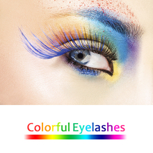 Mangodot Colourful False Mink Eyelashes Red Pink Cosplay Colored Blue Cilios Makeup Extension 3D Colour Fake Lashes