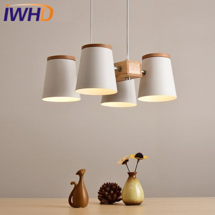 IWHD 4 Heads LED Pendant Lights Modern Brief White Iron Pendant Lamp Home Lighting Fixtures Kitchen Light Wood Lamparas