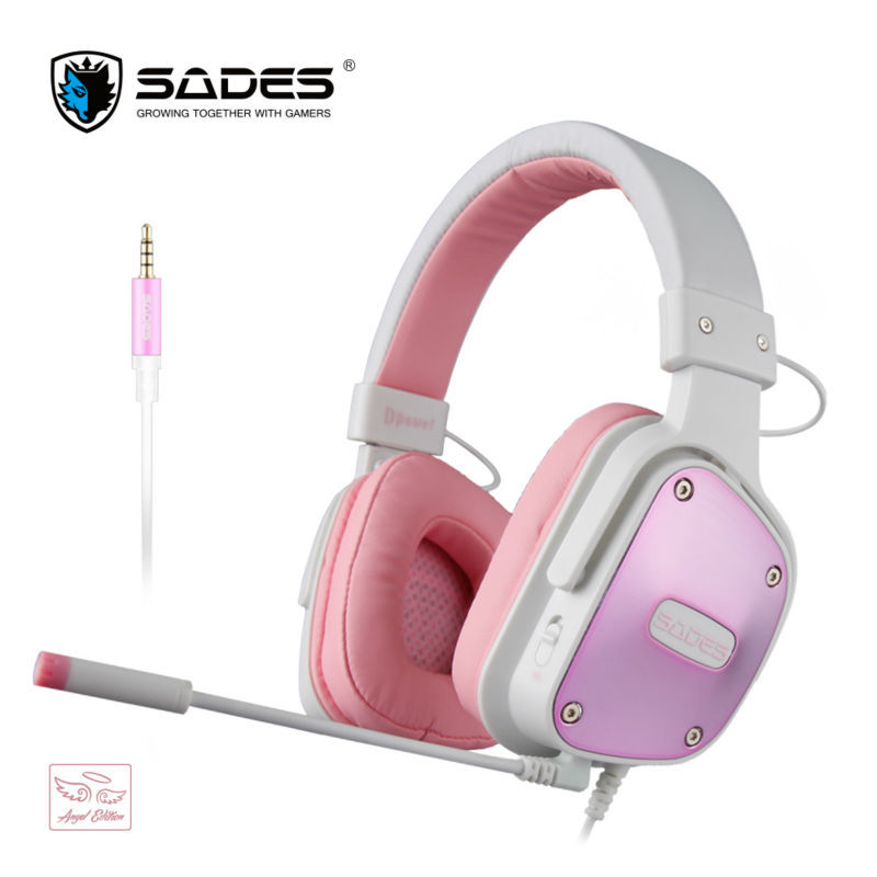 SADES Dpower Multi-platform gaming headset for PC Xbox One PS4 with LED microphone Stereo headphone with adapter cable