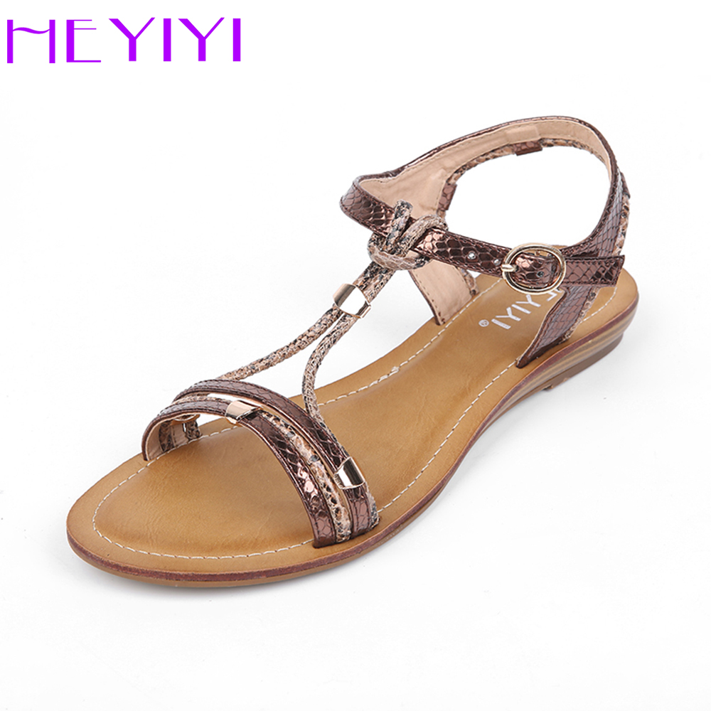 HEYIYI Shoes for Women Flat Sandals Rivets Beach Causal Narrow Band Fashion Leisure Round Toe Comfortable Buckle Strap Shoes