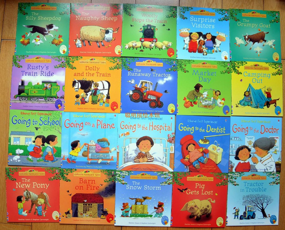 20 Books/set 15x15cm Usborne Picture Books Children Baby Famous Story English Tales Series Child Book Farm Story Early Education