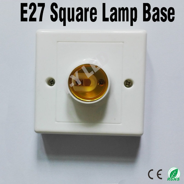 5pcs Lot E27 Light Bulb Lamp Socket Holder Adapter Square Bases Colour And Re Is White