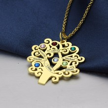 Creative Family Tree Shaped Customized Silver Pendant Necklace