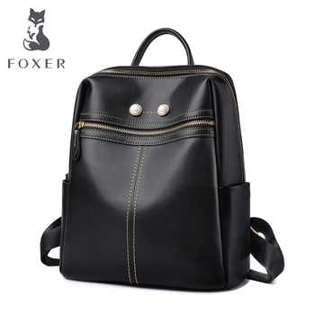 FOXER Brand Women Split Leather Travel Backpack Teenage Casual School Bag Large Capacity Female Fashion Backpack - DISCOUNT ITEM  40% OFF All Category