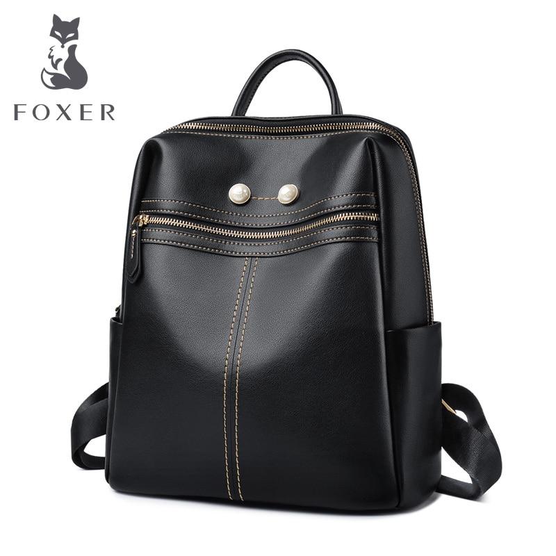 FOXER Marke Student Softback Rucksack Frauen Aus Echtem Leder Solide Reisetaschen Weibliche Kuh Leder Fashoin Rucksack für Dame-in Rucksäcke aus Gepäck & Taschen bei  Gruppe 1