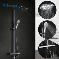 FRAP Bathroom Thermostat Faucet Bathtub Shower Faucet Mixer Tap Waterfall Wall Mount Thermostatic Mixer Shower Faucets