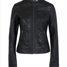 Women Leather Jacket Single Pimkie Washed PU Leather Motorcycle Jacket
