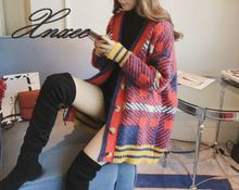 2019 Xnxee spring and autumn loose sweater cardigan V-neck color matching plaid fashion