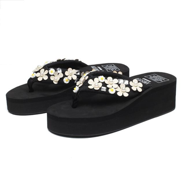 f7223855065 XMISTUO Brand 2018 Summer Women Flower Eva Platform Slider Wedges Slippers  Beach Flip Flops Sandals Girl Casual Home Floor Shoes
