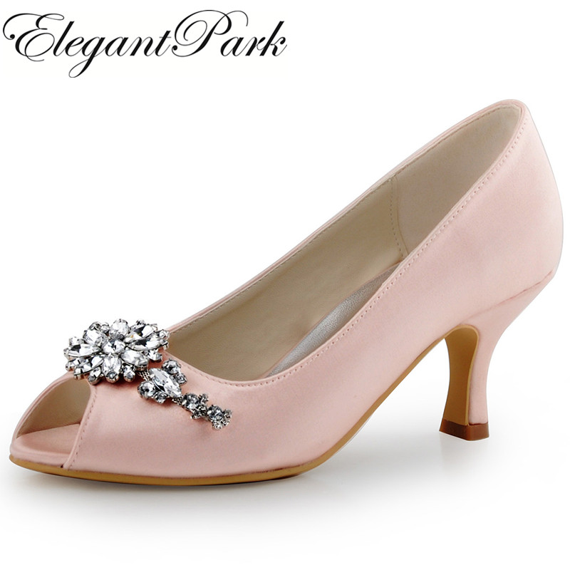 Women Evening Party Mid Heel Pumps Pink Peep Toe Clip Buckle Satin Bride Bridesmaids Pumps Wedding Bridal Shoes Woman  HP1541 hp1544i white ivory peep toe women wedding pumps ankle strap crystal buckle bride bridesmaids high heel satin bridal prom shoes