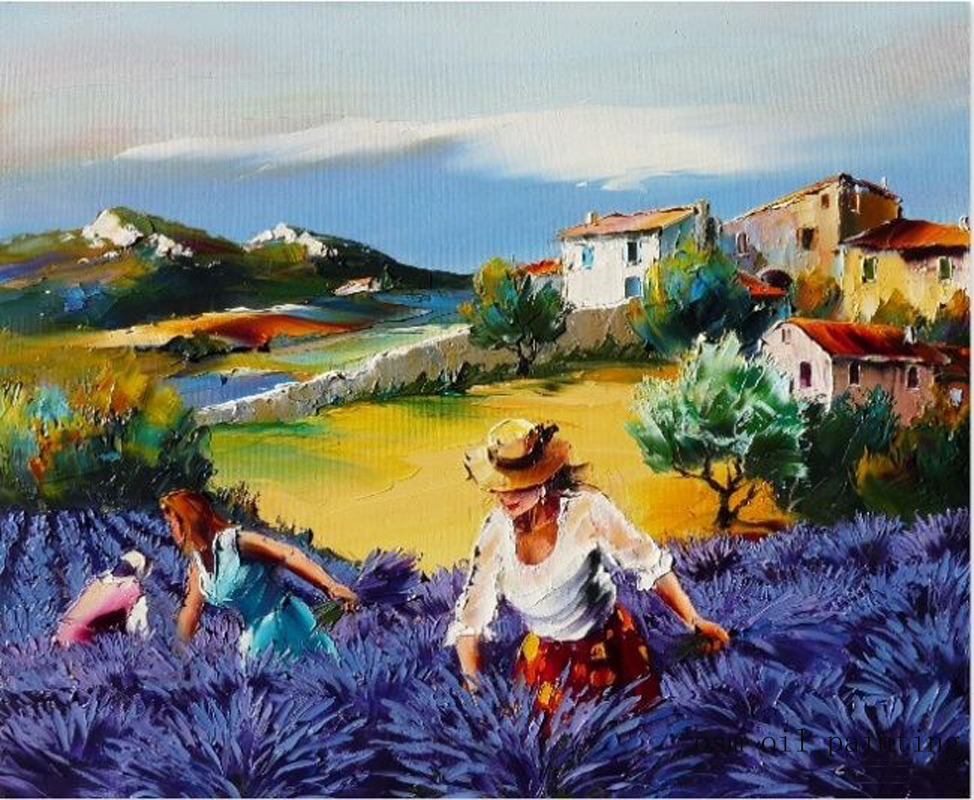 Top Artist High Skill 100%Hand painted French Simple Life