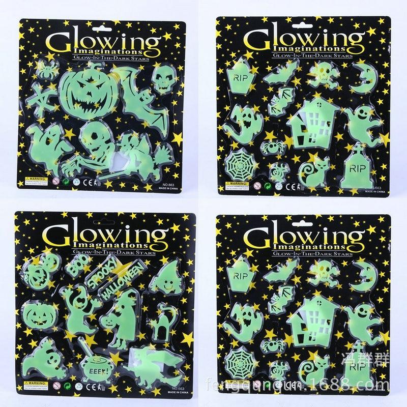 מוצר - 1set Skeleton Skull Luminous Sticker Fluorescent Ghost ...