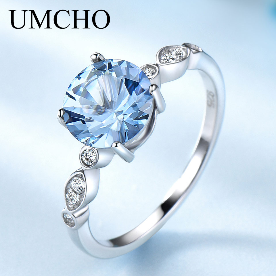 UMCHO Sky Blue Topaz Silver Ring Female Solid 925 Sterling Silver Rings For Women Wedding Band Birthstone Aquamarine Gemstone