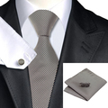 New Hot Mens Tie Brown Stripe Tie For Men Hanky Cufflinks Set Business Wedding Party Supplies Necktie Set C-1114