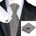 New Hot Mens Tie Listra Marrom Gravata Para Os Homens Abotoaduras Lenço Definir Fontes da Festa de Casamento Negócios Gravata Set C-1114