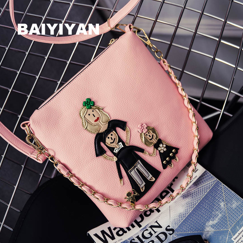 9a8b5062a026 Women Handbags 2017 New Fashion Summer Chain Ladies Hand Bags Cartoon Girl  Printed Female Crossbody Bags Casual Tote sac a main