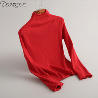 2018new Women winter 100% Pure Cashmere Knitted Top quality half Turtleneck loose Casual solid colour slim women sweater
