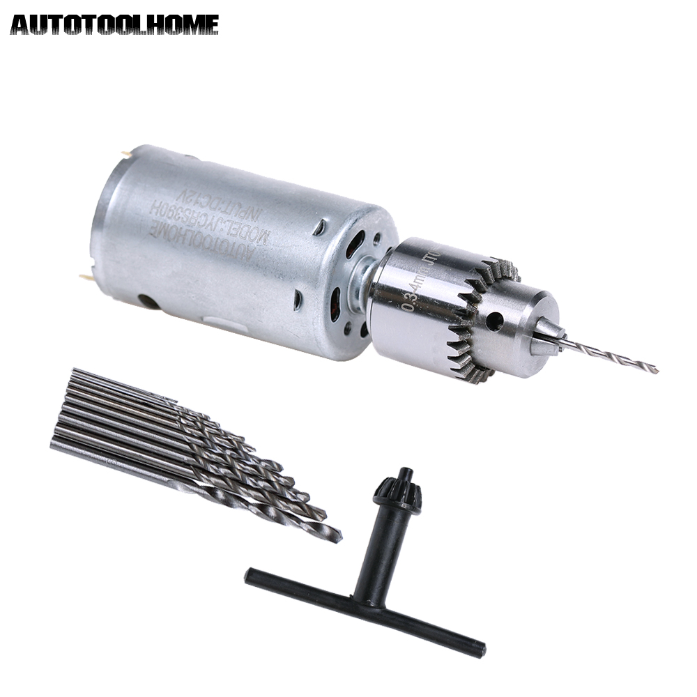 DC 12V Electric Motor Small PCB Hand Drill Press Drilling Compact Set with 10PC 0.5-3mm Twist Bits 0.3-4mm JTO Keyless Chuck