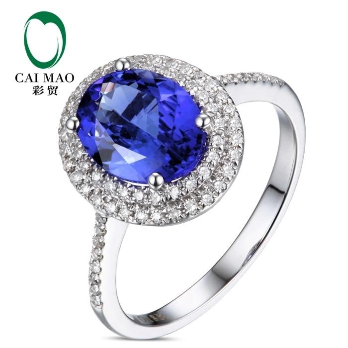 купить CaiMao 18KT/750 White Gold 1.87 ct Natural IF Blue Tanzanite AAA 0.30 ct Full Cut Diamond Engagement Gemstone Ring Jewelry по цене 37558.42 рублей
