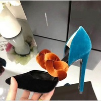 Mixed colours suede dress woman pumps sexy pointed toe stiletto heel ladies twist waved shoes slip on new style pumps 2018