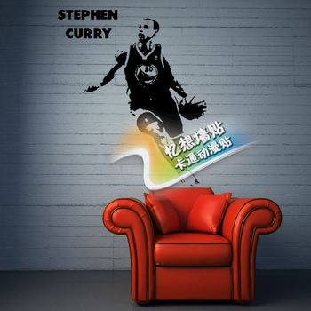 Free shipping diy vinyl basketball wall stickersThe golden state warriors star Stephen curry wallpaper  children room wall decor 3