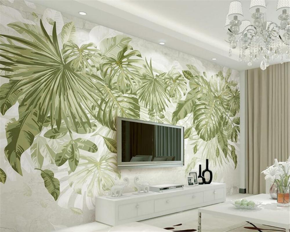 Beibehang custom wall paper fresh grass green leaf plant - Feng shui wallpaper ...
