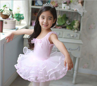 Children Kids Cotton Professional Ballet Tutu Gymnastics Leotard Girl Dance Costume Vest Baby Short SleeveTutu Dress