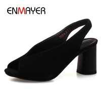 ENMAYER Peep Toe Black Jelly Shoes Woman Casual Fashion Shallow Concise Kid Suede Summer Shoes Round Heels Women Sandals CR235