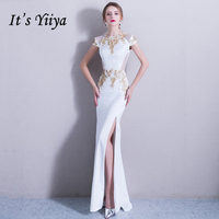 It's Yiiya White Formal Dress for Party O Neck Short Sleeve Flower Mermaid Pearls Evening Dresses Fashion Designer LX772