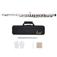 西洋コンサートフルート銀メッキ 16 穴cキー白銅木管楽器クリーニングクロススティック手袋ドライバー