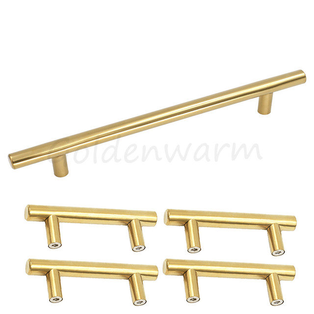 Polished Brass Gold Kitchen Cabinet Pulls Hole Centers 160 Mm (6 1/4 Inch)  Stainless Steel T Bar Furniture Drawer Handles 5 PCS