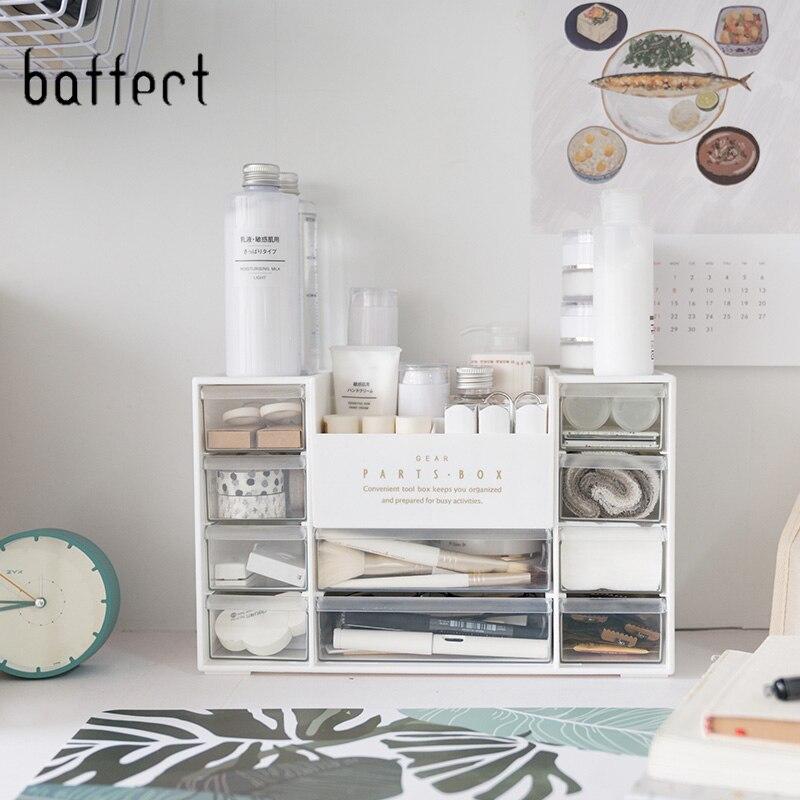 Bijoux cosmétique organisateur multi-grille en plastique boîte de rangement avec tiroirs acrylique tiroir étui de maquillage rangement Insert boîte de support