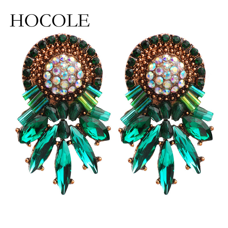 HOCOLE Jewelry 2018 New Design Exquisite Flower Crystal Gem Rhinestone Stud Earrings For Women Vintage Earring Gift
