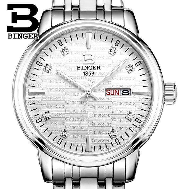 Montres pour hommes de suisse montres de luxe de marque BINGER ultra mince horloge à Quartz pleine montre en acier inoxydable glowwatch B3036-in Montres à quartz from Montres    1
