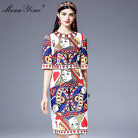 MoaaYina Fashion Designer Runway Dress Women Half Sleeve Vintage Playing Cards Printed Crystal Beading Sequin Midi
