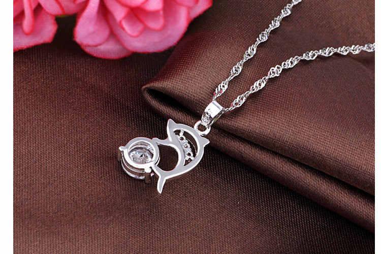 Модные короткие Bling flash циркония Кристалл Дельфин Шарм Для женщин Цепочки и ожерелья Кулон подруга подарок Посеребренная Ювелирные изделия