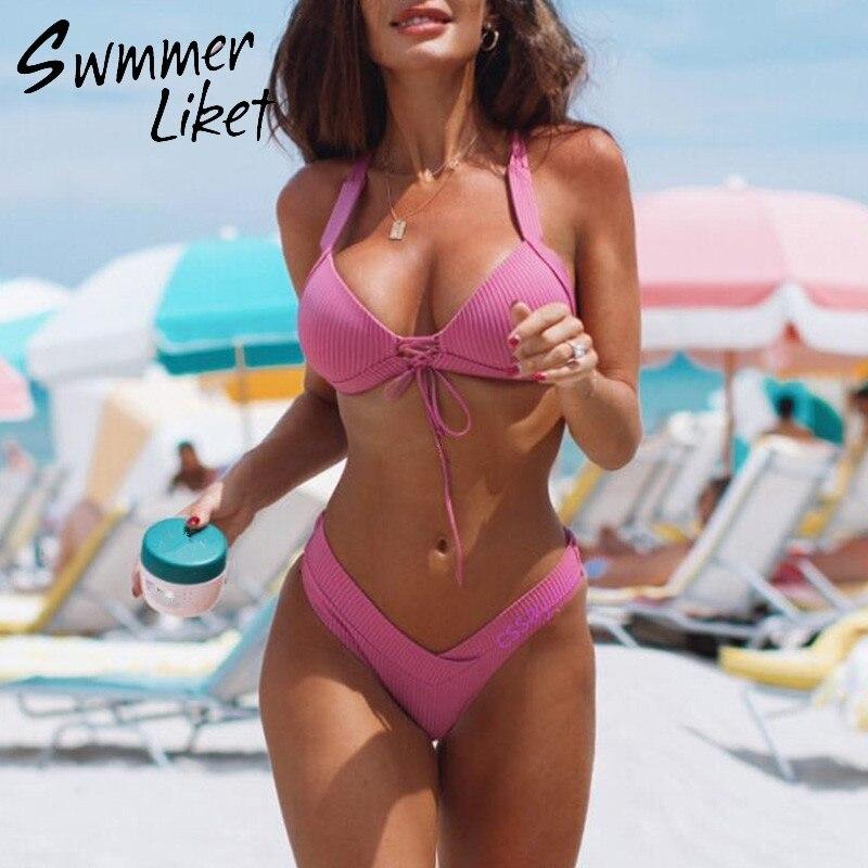 250c73c10ef Push up pink bikini 2019 Ribbed high cut swimsuit female swimwear String sexy  bathing suit women