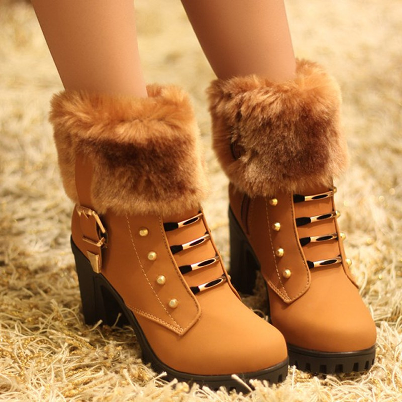 2018 Fashion NEW Autumn Winter Women Short Boots Woman Fur Warm Snow Boots Female High Heel Boots Ladies Casual Shoes camel winter women boots 2015 new shoes retro elegance sheepskin fashion casual ladies boots warm women s boots a53827612