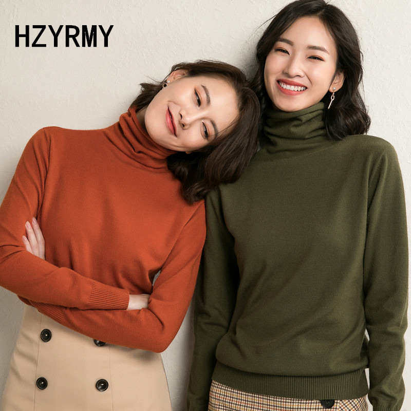 HZYRMY Autumn Winter New Women's Turtleneck Sweater Fashion Loose Wool Knit Pullover Solid Color Sweater Short Female Warm Shirt