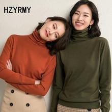 купить HZYRMY Autumn Winter New Women's Turtleneck Sweater Fashion Loose Wool Knit Pullover Solid Color Sweater Short Female Warm Shirt онлайн