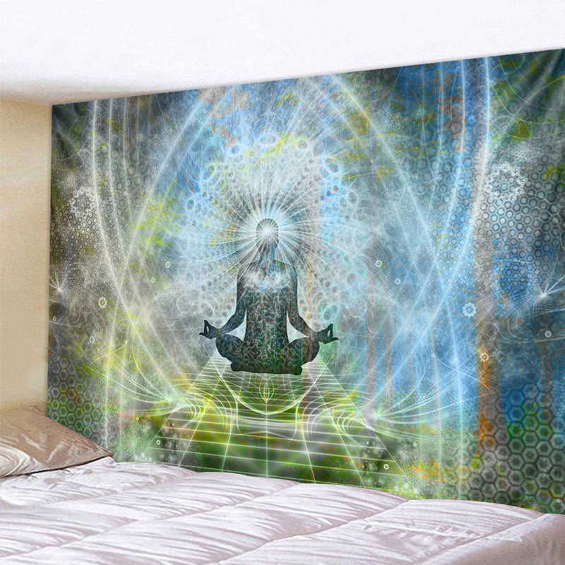 Indian Buddha Statue Meditation Tapestry Wall Hanging Mandala Tapestries Wall Cloth Psychedelic Yoga Carpet Boho Decor