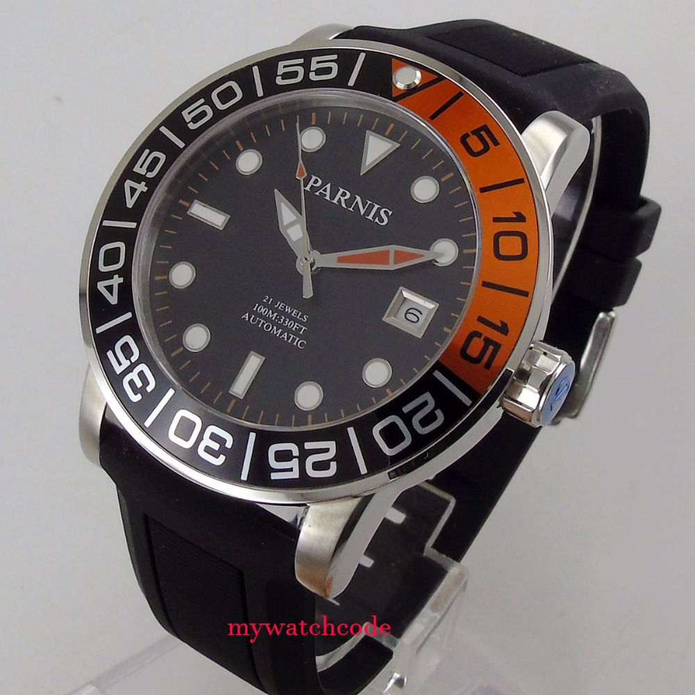 42mm Parnis black dial Sapphire glass date window Miyota automatic mens watch370 42mm parnis withe dial sapphire glass miyota 9100 automatic mens watch 666b