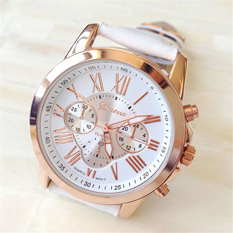 New Women's Watch Fashion Roman Numerals Faux Leather Analog Quartz Wrist Watch women relogio feminino new watch women hollow out alloy dial clcok faux leather analog quartz watch roman numerals ladies casual wrist watches women