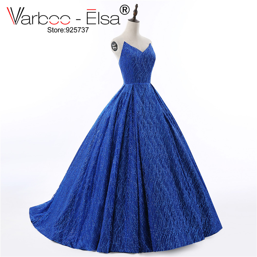 VARBOO_ELSA 2018 Luxury Royal Blue Party Dress Sexy V-neck Backless Sequin Evening Dress Strapless Party Ball Gown Saudi Arabia