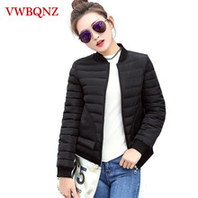 Warm Black Coats 2018 Autumn Winter Down cotton Short Jacket