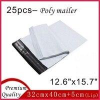 25 قطع 32 سنتيمتر x 40 سنتيمتر سميكة بيضاء بلاستيكية مجانا البريدية أكياس المغلفات البريدية البريد حقيبة بولي الارسال ل التعبئة 12.6