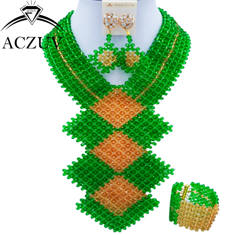 ACZUV Fashion African Green and Gold Bead Jewelry Set for Women Nigerian Wedding Necklace and Earrings CFKB006 chic rhinestone african plate shape pendant necklace and earrings for women