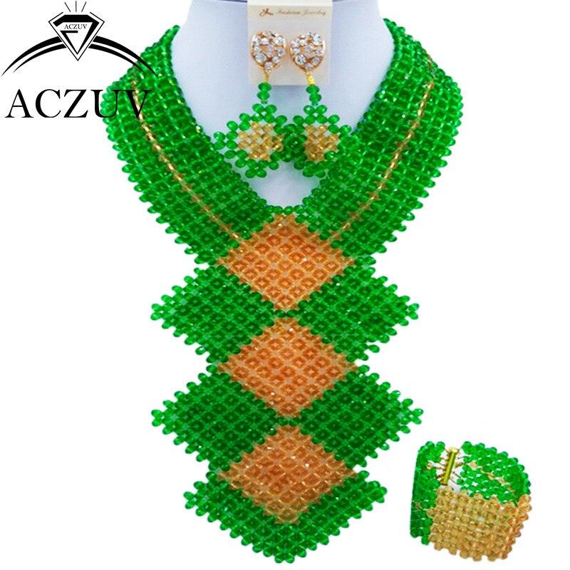 ACZUV mode africaine vert et or perle ensemble de bijoux pour les femmes nigérian mariage collier et boucles d'oreilles CFKB006