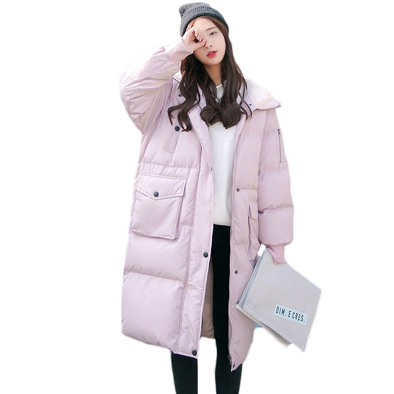 Longue rose Coréenne Manteau Chaud Chaude Oversize Veste D'hiver De Noir 2018 Épaississent Femmes Manteaux Nouvelles Survêtement Parkas menthe Coton D028 tX0UqAw0