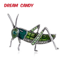 Dream Candy Creative Rhinestone Grasshopper Brooches for Women Insect Brooch Enamel Pins Men Jewelry Suit Fashion Accessories